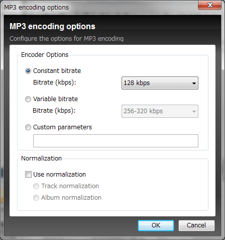 Helium Audio Converterのエンコードオプションを選択